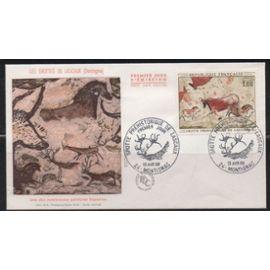 France: Enveloppe 1er jour de 1968 avec timbre N° 1555 Grotte de Lascaux, cachet de Montignac du 13/4/1968