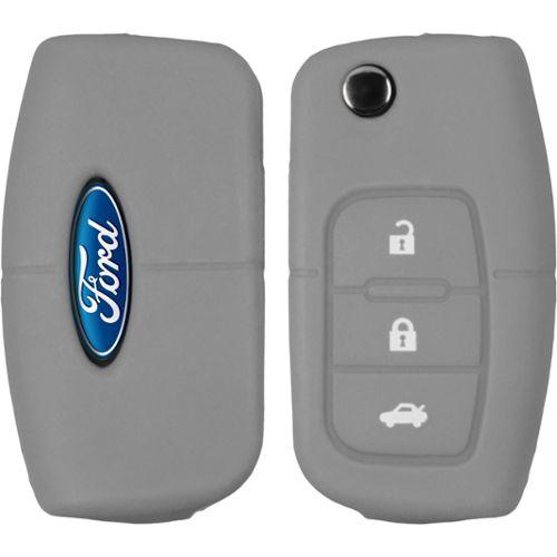 Silicone clé coque Ford Focus//Fusion//s-max 3 touches gris clé pliante