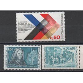 France 1973: Lot de 3 timbres commémoratifs neufs N° 1737,1739,1749.