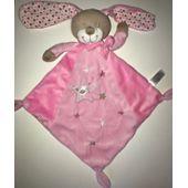 Doudou Lapin Rose Auchan Plat Losange étoiles Peluche éveil Bébé Soft Toys Plush Comforter Pink Bunny
