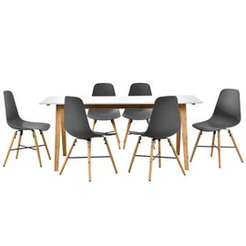 [en.casa] Table à manger blanc avec 6 chaises gris 180x80 table de cuisine  table de salle à manger