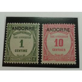 2 Timbres Taxe Andorre 1927 Yvert et Tellier n°9 et 10 TB