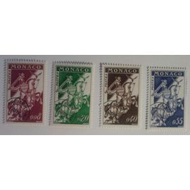 4 Timbres Monaco Pré-oblitérés 1960 Yvert et Tellier n°19, 20, 21, 22 TB Gomme Intacte
