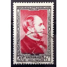 France - Célébrités XIXème Siècle - Baron Haussmann 30f+6f carmin (Magnifique n° 934) Obl - Cote 11,50€ - Année 1952 - N14092