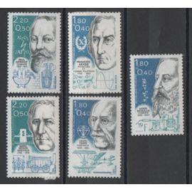 France 1986: Suite de 5 timbres  neufs sur des personnages célèbres, physiciens, chimistes et ingénieurs, du N° 2396 au N° 2400.