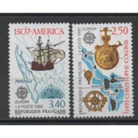 France 1992: Paire de timbres neufs Europa N° 2755 et 2756