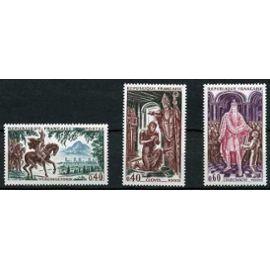 France 1966, très beaux exemplaires neufs** luxe yvert 1495 1496 1497 - Personnages célèbres - Charlemagne - Clovis - Vercingetorix.