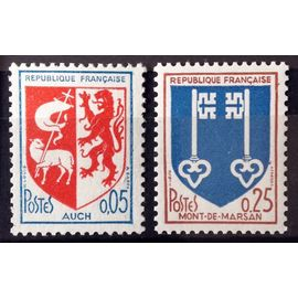 France - Blason Auch 0,05 ( n° 1468) + Blason Mont-de-Marsan 0,25 ( n° 1469) Neufs** Luxe - Année 1966 - N14445