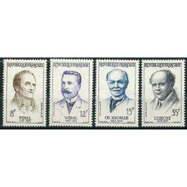 france 1958, très belle série complète neuve** luxe personnages, yvert 1142 pinel, 1143 widal, 1144 nicolle, 1145 leriche.