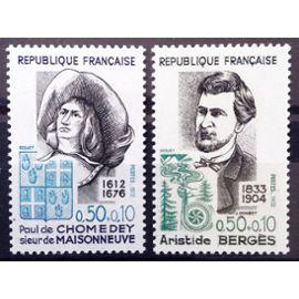 France - Personnages Célèbres - Chomedey 0,50+0,10 (N° 1706) + Bergès 0,50+0,10 (N° 1707) Neufs** Luxe - Année 1972 - N14689