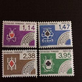France Préoblitérés 1984 YT nº 182 à 185 Neufs (xx) Cartes à jouer Superbes