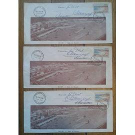 3 Enveloppes Timbres Yvert et Tellier n°883 et 978 Oblitérés Premier jour Royan 3 juil. 1954