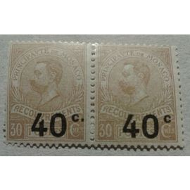"""2 Timbres Taxe Monaco 1919 Yvert et Tellier n°12/12A (sans point après le """"C"""") Paire verticale TB"""