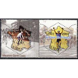 france 2003, le tour de france a 100 ans, très belle paire attachée neuve** luxe yvert 3582 maurice garin, et 3583 vainqueur d