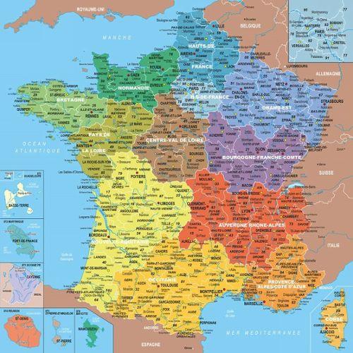 Puzzle 100 Pieces Puzzle En Bois Carte De France Avec Nouvelles Regions 1 Departement 1 Piece De Puzzle Rakuten