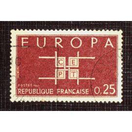 FRANCE N° 1396 oblitéré de 1963 - 25c brun-rouge « Europa »