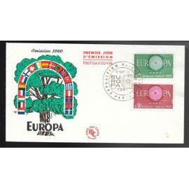 france enveloppe fdc premier jour timbres n° 1266 1267 EUROPA  PARIS 17 / 09 / 1960