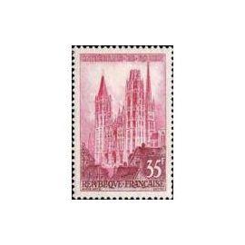 Timbre France Oblitéré 1957 Cathédrale de Rouen  35f. Yvert 1129