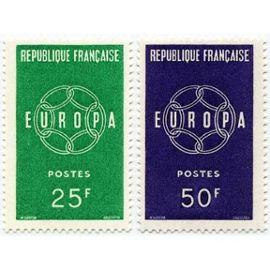 Timbre France Oblitéré 1959 Europa (La Paire) 25/ 50f. Yvert 1218/1219