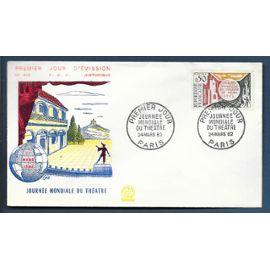 france enveloppe fdc premier jour timbre n° 1334 journée mondiale du theatre / paris 24 mars 1962