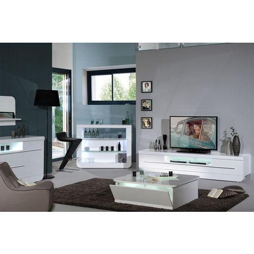 Meuble Tv Blanc Laque 220 Cm Avec Led P 4153 Co Aristophane Rakuten