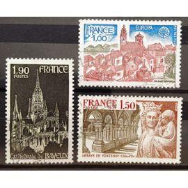 France - Europa - Village Provençal (N° 1928) + Abbaye de Fontenay (N° 1938) + Cathédrale de Bayeux (N° 1939) Obl - Année 1977 - N16494