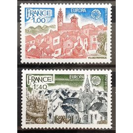 France - Europa - Village Provençal 1,00 (N° 1928) + Europa - Port Breton 1,40 (N° 1929) Neufs** Luxe - Année 1977 - N16487