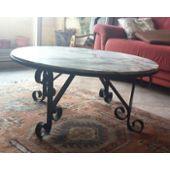 Table Basse Ronde Marbre Et Fer Forge