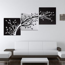 3pc Tableau Peinture A L Huile L Arbre Toile Art Moderne Decor Mur Salon 50x50cm