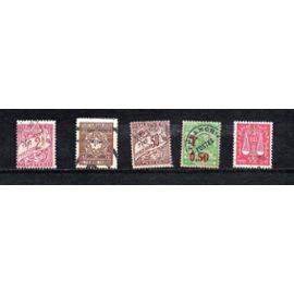 Algérie- Lot de 5 timbres oblitérés - Timbres Taxe