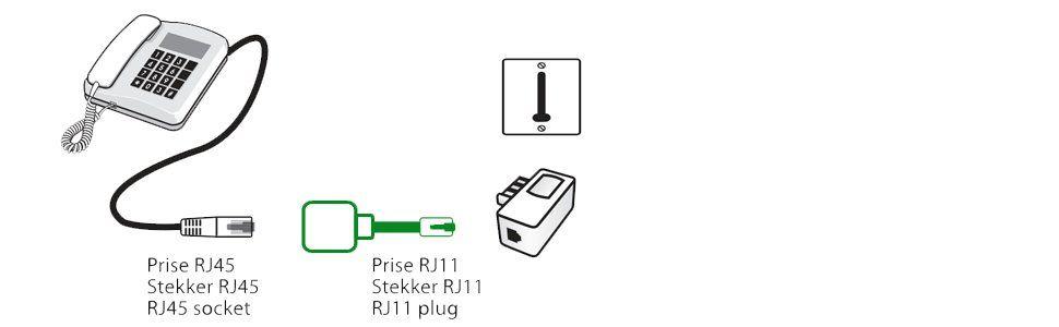Metronic 495222 Adaptateur Téléphone Ethernet Rj11 Mâle Vers Rj45 Femelle