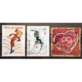 France - Saint-Valentin - Coeurs Scherrer - Petits Coeurs (N° 3861) + Année Lunaire Chinoise du Chien (N° 3865) + Fête du Timbre - Spirou (N° 3877) Obl - Année 2006 - N17156