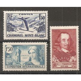 334 à 336 (1937) Chamonix / Corneille / Exposition Internationale N* (cote 12,7e) (2894)
