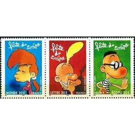 france 2005, fête du timbre, très beau tryptique yvert 3751a, timbres 3751 titeuf, 3752 manu, 3753 nadia, neuf** luxe