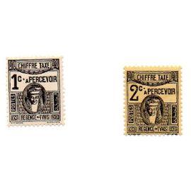 Tunisie- Lot de 2 timbres neufs - Taxe- Déesse carthaginoise