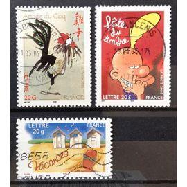 France - Année Lunaire Chinoise du Coq (N° 3749) + Cabines de Plage AutoAdhésif (N° 3788) + Titeuf (N° 3751) Obl - Année 2005 - N17408