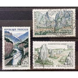 France - Moustiers-Sainte-Marie 0,50 (N° 1436) + Gorges du Tarn 0,75 (N° 1438) + Alignements de Carnac 1,00 (N° 1440) Obl - Année 1965 - N17462