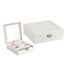 Boîte à Bijoux Noir, Coffret à Bijoux 2 Plateaux, Boîte à Maquillage Femme  Avec Miroir Pour Rangement Bijoux