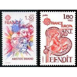 france 1980, très belle paire europa, yvert 2085 aristide briand et 2086 saint benoit, neufs** luxe