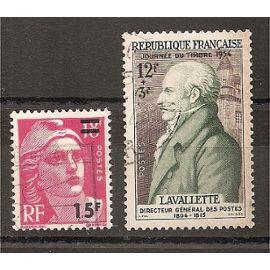 968 - 969 (1954) Gandon Surchargé / Lavalette oblitérés (cote 5,25e) (3936)