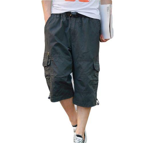 ZEZKT Short Homme Bermuda Couleur Unie Corde de Serrage Coton Respirant Shorts de Sport Homme Pantalon de Plage Pantacourt Pantalon Court Shorts de Bain Pantalons de Sport Pantalon de Travail