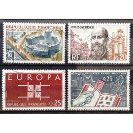 Grands Hommes CEE - Mayrisch 0,20 (N° 1385) + Europa CEPT 0,25 (N° 1396) + Maison de la Radio 0,20 (N° 1402) + Philatec 1964 Album Timbres 0,25 (N° 1403) Obl - France Année 1963 - N17791