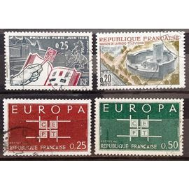 Europa CEPT 0,25 brun-rouge (N° 1396) + 0,50 vert-bleu (N° 1397) + Philatec 1964 Album Timbres (N° 1403) + Maison de la Radio (N° 1402) Obl - France Année 1963 - N17856