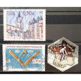 Tulle - Corrèze - Cathédrale 0,50€ (N° 3580) + Centenaire Tour de France - Maurice Garin (N° 3582) + Franc-Maçonnerie 0,50€ (N° 3581) Obl - France Année 2003 - N17832