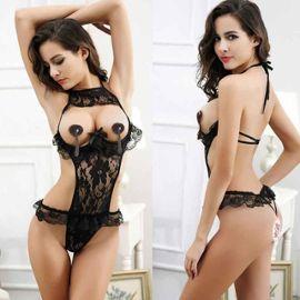 cheap for discount autumn shoes popular stores Femme tentation transparent dentelle chemise de nuit sous-vêtements Noir