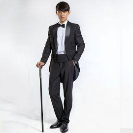 taille 40 acheter mode de luxe Costume Homme 4 Pièces Veste+Pantalon+Gaine +Cravate pour Affaires Marriage  Costume Smoking - Noir ZS0764