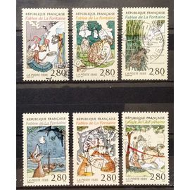 Série Fables La Fontaine - 2958 Cigale Fourmi + 2959 Grenouille Boeuf + 2960 Loup Agneau + 2961 Corbeau Renard + 2962 Rat Belette + 2963 Lièvre Tortue Obl - Cote 4,80€ - France Année 1995 -N17643