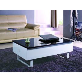 Table Basse Multifonction Laquee Noir Et Blanc Malindo