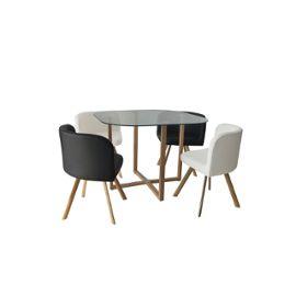 Ensemble Table 4 Chaises Encastrables Noir Et Blanc Flen