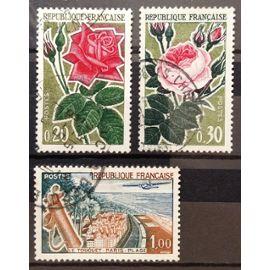 Roses 0,20 (N° 1356) + Roses 0,30 (N° 1357) + Le Touquet Paris Plage 1,00 (N° 1355) Obl - France Année 1962 - N17977